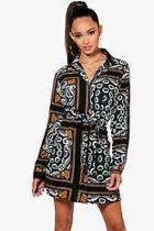 Boohoo Paisley Print Tie Waist Shirt Dress