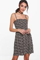 Boohoo Sophie Strappy Printed Shift Dress Multi