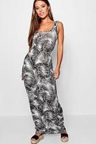 Boohoo Petite Palm Print Maxi Dress