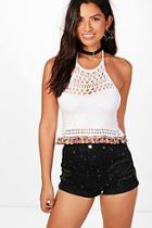 Boohoo Kerry Tassel Trim Halterneck Crochet Top