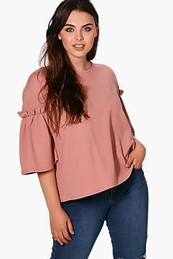 Boohoo Plus Addison Ruffle Crepe Boxy Top