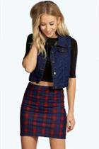 Boohoo Scarlett Tonal Checked Mini Skirt Multi