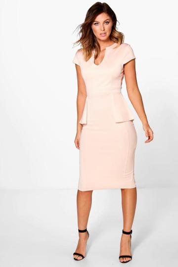 Boohoo Albany Cap Sleeve Peplum Formal Midi Dress Blush