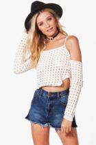 Boohoo Kate Crop Cold Shoulder Crochet Top Cream