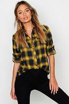 Boohoo Brushed Check Cotton Oversized Shirt