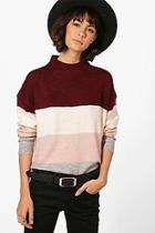 Boohoo Alice Funnel Neck Loose Fit Stripe Jumper