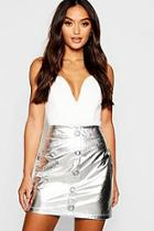 Boohoo Petite Metallic Snake Effect Button Mini Skirt