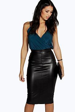 Boohoo Loren Leather Look Midi Skirt