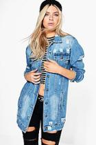 Boohoo Libby Longline Distressed Denim Jacket