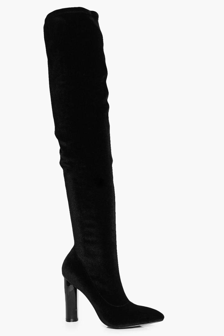 Boohoo Darcy Pointed Velvet Thigh High Boot Black