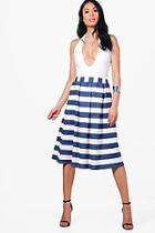Boohoo Darcie Box Pleat Striped Midi Skirt