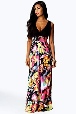 Boohoo Petite Kiera Rose Print Maxi Dress