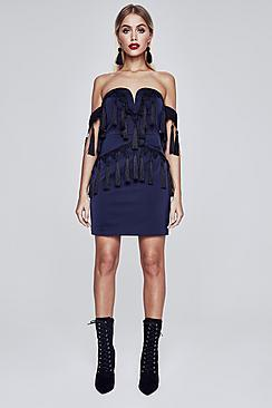 Boohoo Premium Fliss Bardot Tassle Trim Dress