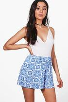 Boohoo Tile Print Flippy Shorts
