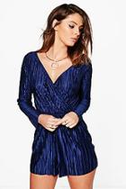 Boohoo Mia Crinkle Wrap Front Playsuit