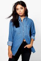 Boohoo Kate Oversized Pocket Denim Shirt Blue