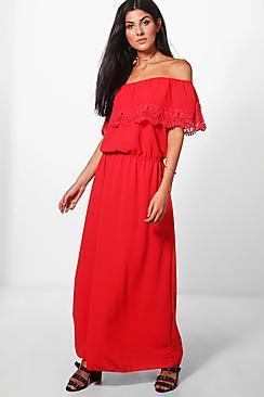 Boohoo Bella Bardot Lace Trim Maxi Dress