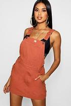 Boohoo Brick Denim Pinafore Dress