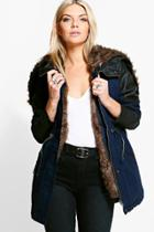 Boohoo Natalie Faux Fur Lined Parka Navy