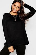 Boohoo Basic Long Sleeve Split Side Top