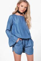 Boohoo Jenni Flare Sleeve Denim Playsuit Blue