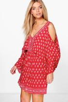 Boohoo Lyanne Woven Border Print Open Shoulder Dress Red