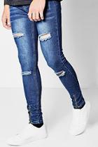 Boohoo Super Skinny Distressed Jeans In Indigo Wash
