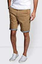 Boohoo Chino Shorts With Stripe Turn Ups