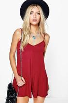 Boohoo Daisie Swing Style Playsuit Berry