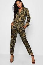 Boohoo Camo Denim Boiler Suit