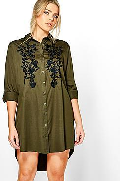 Boohoo Plus Abigail Embroidered Front Shirt Dress