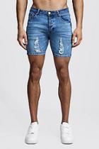 Boohoo Skinny Fit Zip Detail Denim Shorts