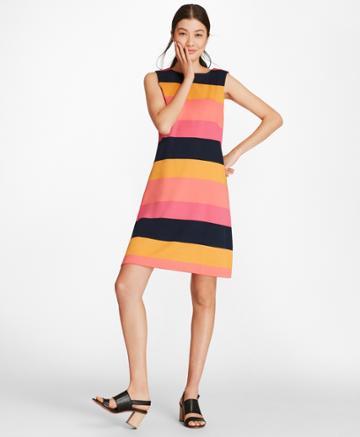Brooks Brothers Women's Block Striped Supima Cotton Interlock Shift Dress