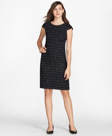 Brooks Brothers Women's Checked Boucle Tweed Sheath Dress