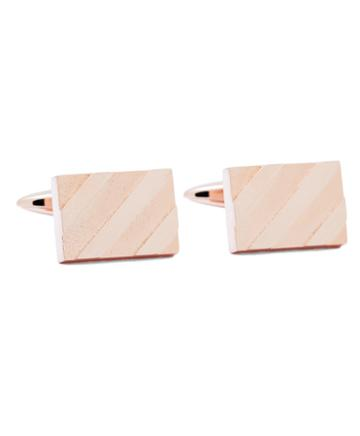 Brooks Brothers Rose-gold Plated Diagonal Stripe Cuff Links