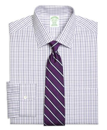 Brooks Brothers Non-iron Milano Fit Triple Twin Check Dress Shirt