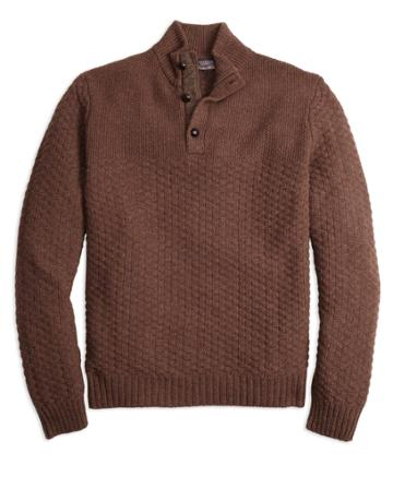 Brooks Brothers Men's Braemar For Brooks Brothers Button Mockneck Sweater
