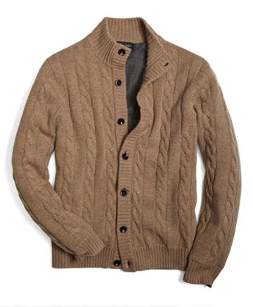 Brooks Brothers Lined Cable Button-down Cardigan