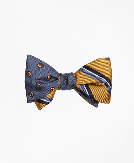 Brooks Brothers Spaced Flower With Split Bar Stripe Reversible Bow Tie