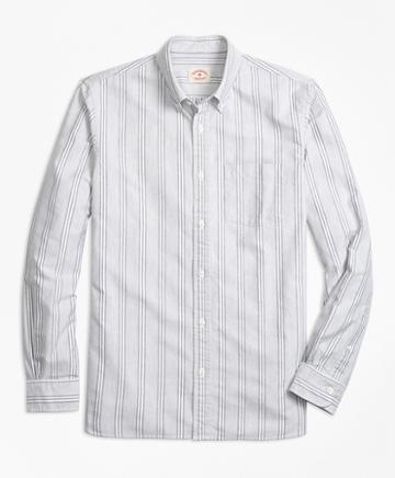 Brooks Brothers Stripe Supima Cotton Oxford Sport Shirt