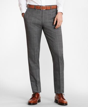 Brooks Brothers Brooksgate Milano-fit Windowpane Wool Suit Pants