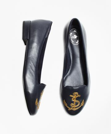 Brooks Brothers Anchor-embroidered Leather Flats
