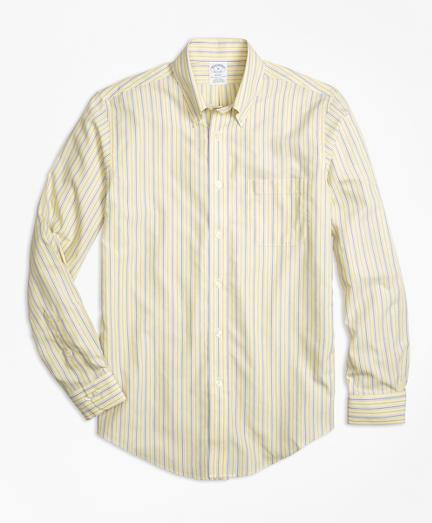Brooks Brothers Non-iron Regent Fit Yellow Stripe Sport Shirt