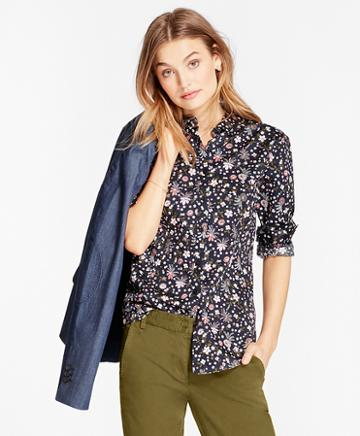 Brooks Brothers Floral-print Cotton Sateen Shirt
