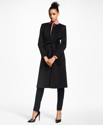 Brooks Brothers Women's Brushed Wool Twill Wrap Coat