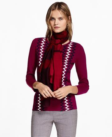 Brooks Brothers Women's Zigzag Cotton Sweater