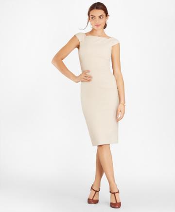 Brooks Brothers Women's Double-weave Square-neck Sheath Dress