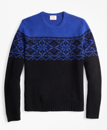 Brooks Brothers Men's Merino Wool-blend Snowflake Crewneck Sweater