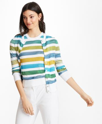 Brooks Brothers Women's Striped Supima Cotton-blend Cardigan