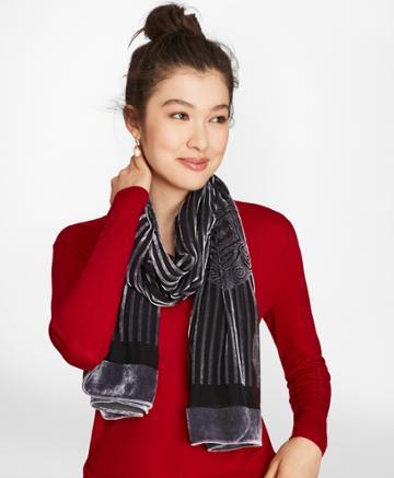 Brooks Brothers Women's Silk-blend Velvet Burnout Oblong Scarf